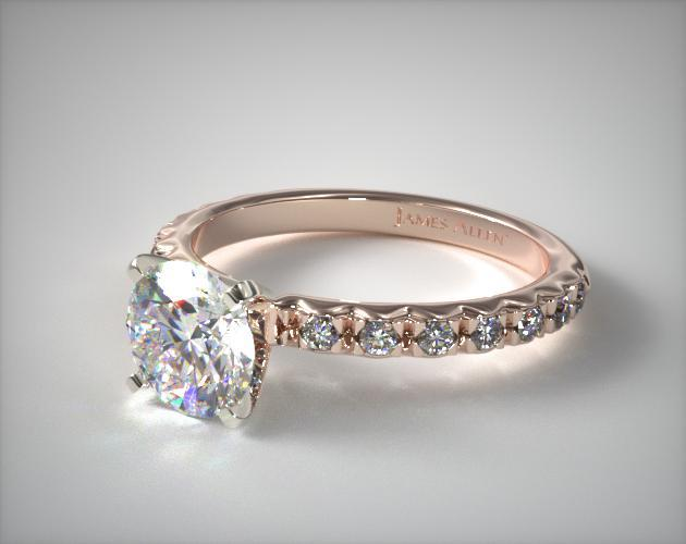 engagement rings, pave, 14k rose gold 032ct french cut ...