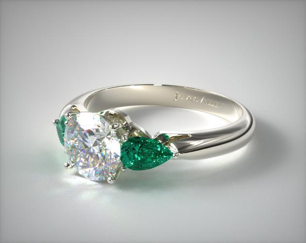 Platinum Three Stone Pear Shaped Emerald Engagement Ring