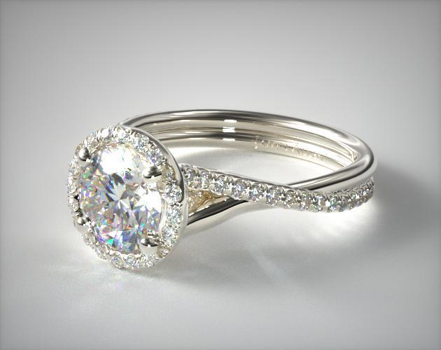 14k White Gold Pave Halo And Twisted Shank Diamond