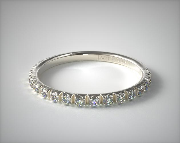 14k White Gold 0 20ct Thin French Cut Pave Set Diamond