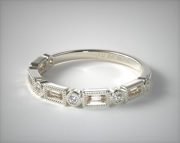 Wedding Rings Womens Stackable 14k White Gold Round And