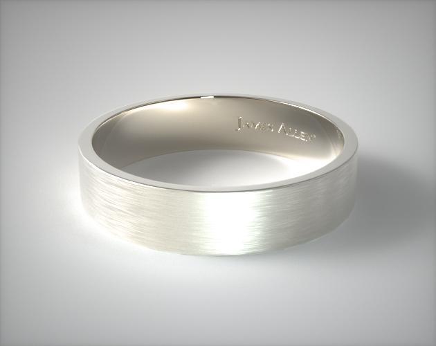14k White Gold 6mm Flat Satin Finish Comfort Fit Wedding