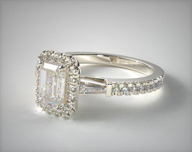 Engagement Rings Halo Platinum Tapered Baguette Emerald