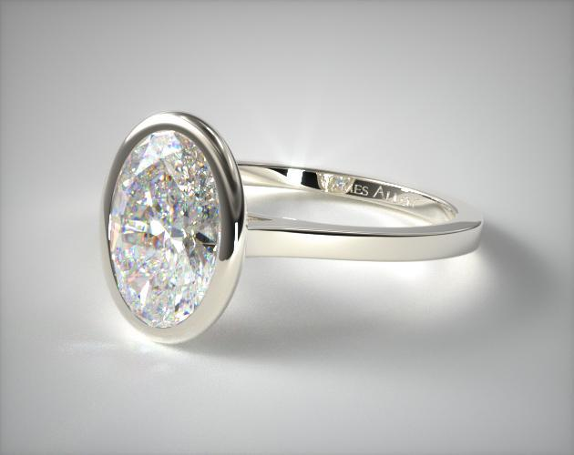 14k White Gold Bezel Solitaire Engagement Ring Oval