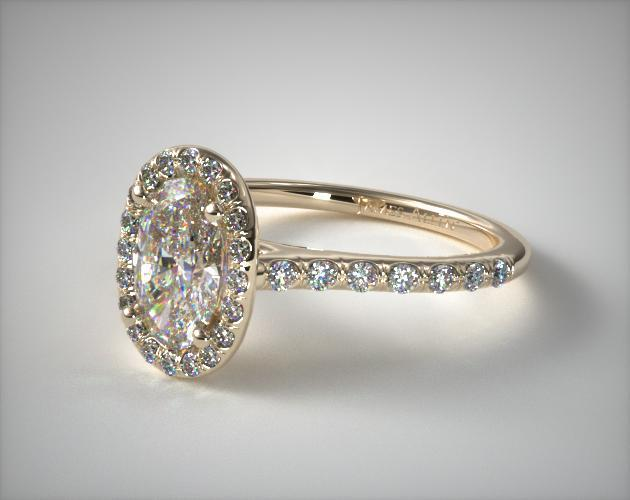 14k yellow gold pave halo engagement ring oval