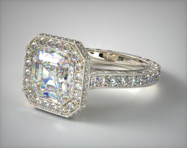 Engagement Rings Vintage 14k White Gold Hand Engraved