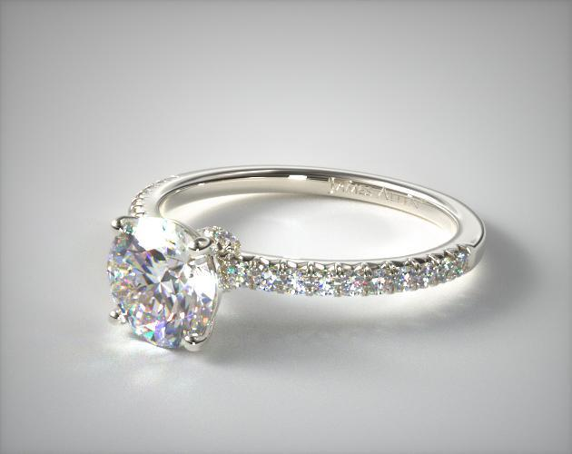 Engagement Rings Pave 14k White Gold French Cut Pave