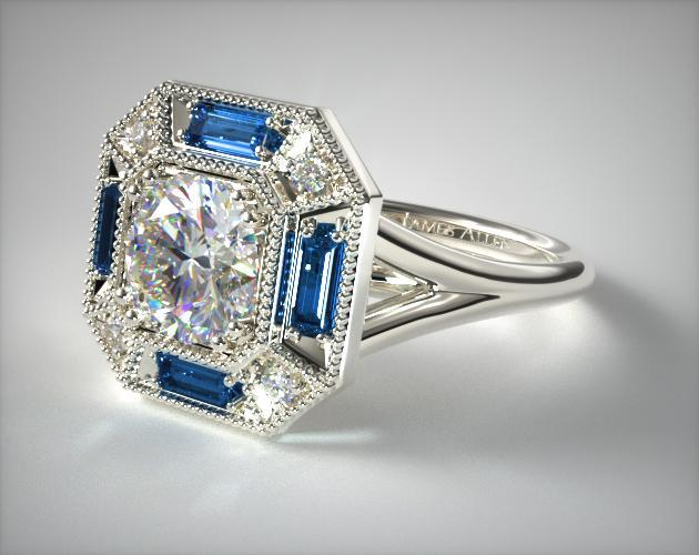 engagement rings, vintage, 14k white gold sapphire ... - photo #13