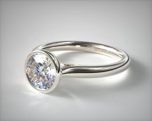 Engagement Rings Tension 14k White Gold Bezel Set