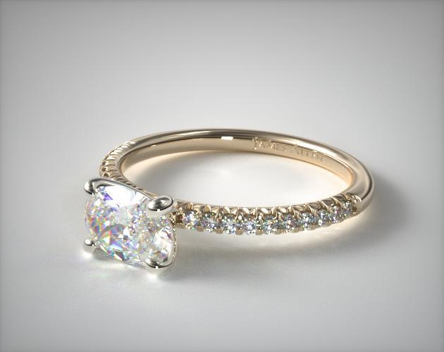 Engagement rings pave k yellow gold petite