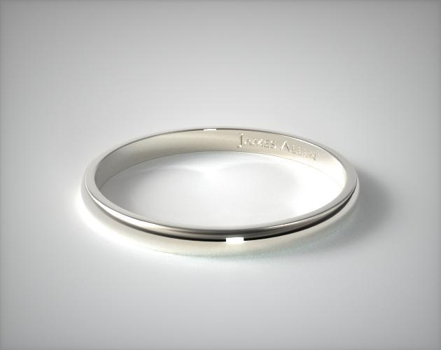 14k White Gold 2 5mm Traditional Slightly Curved Wedding