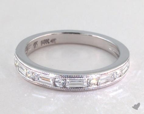 Wedding Rings Womens Stackable 14k White Gold Baguette
